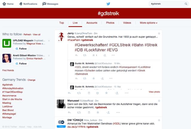 Twitter Suche - Neue Darstellung und Menüführung