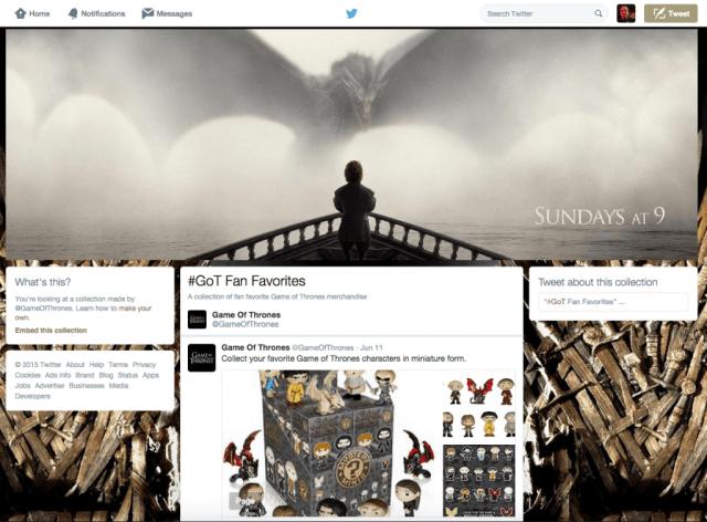 Twitter Collections - Produktseiten auf Twitter