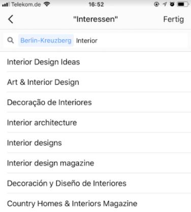 Instagram Anzeigen - Instagram Beiträge Hervorheben_Interessen