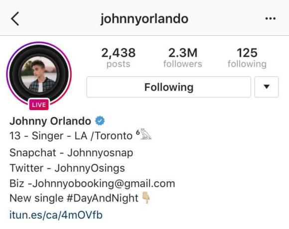 instagram live beispiel - johnny-orlando