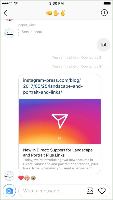 Instagram Direkt - Links über Instagram Direktnachrichten verschicken