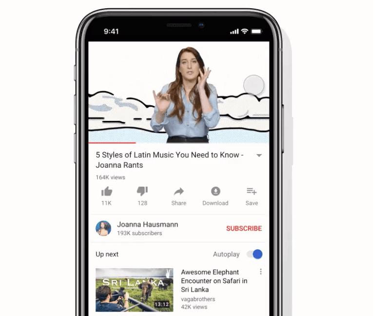 YouTube-Swipe-Empfohlene-Videos