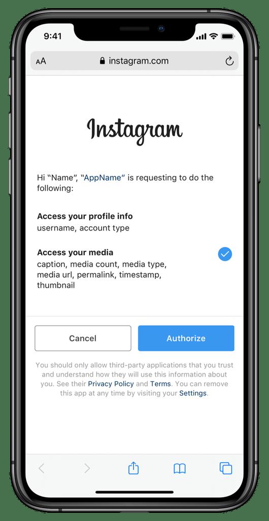 Instagram-Login-Apps-Berechtigungen-Dialog