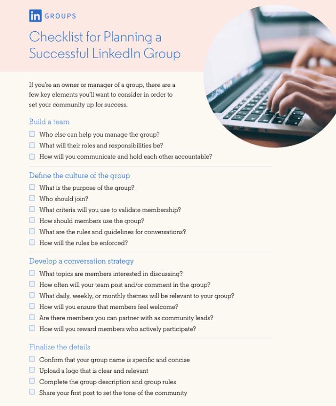 LinkedIn Gruppen Checkliste für Unternehmen