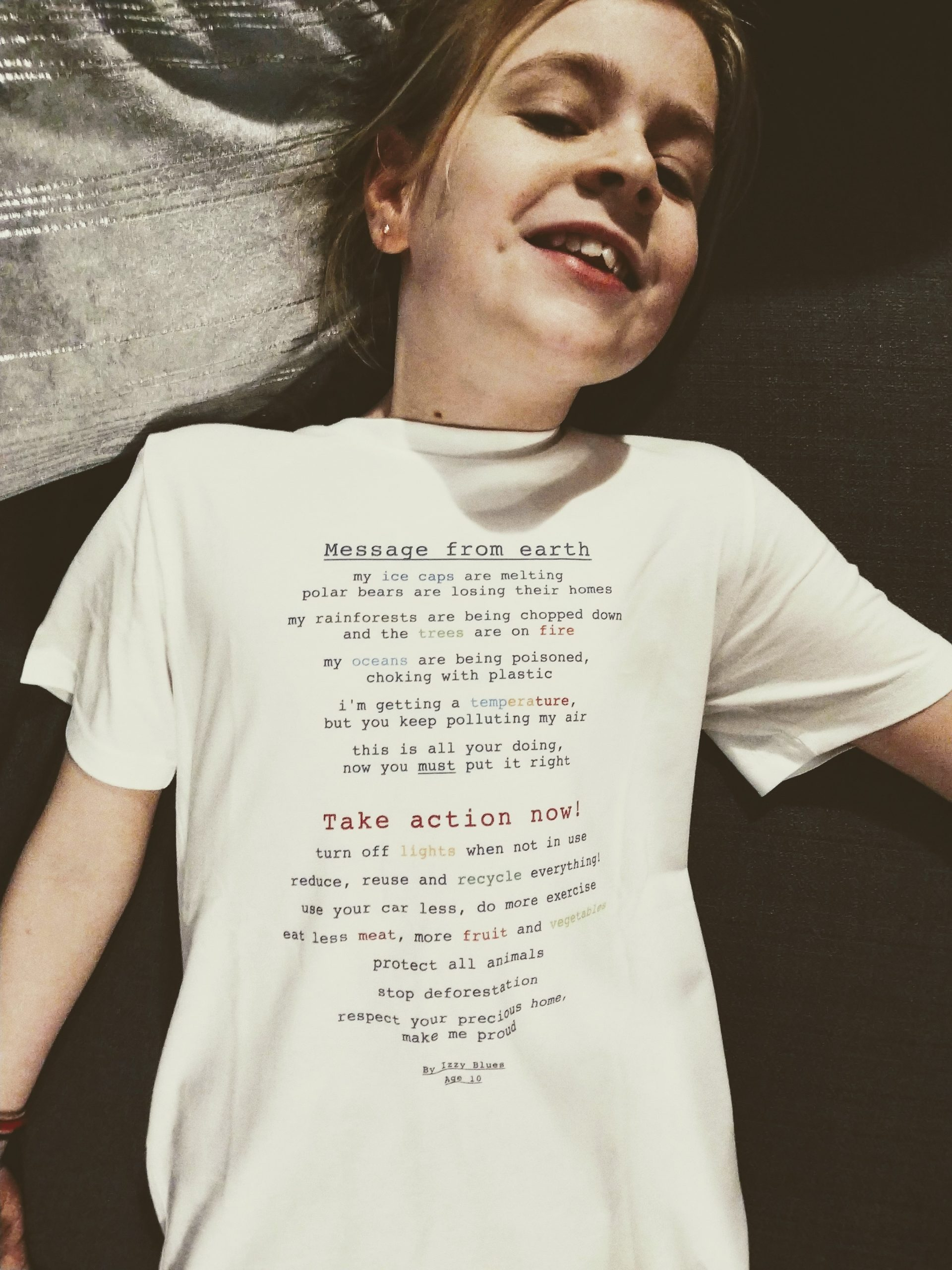 "Commonwealth Day Service Competition 2020, ""Message from earth"" Poem on a T-shirt by Izzy Blues"