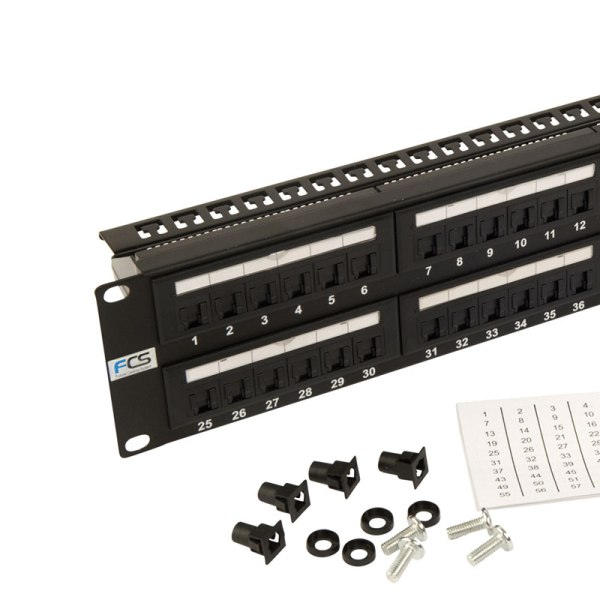 48 Way Cat 5e Patch Panel with cage nuts and numbered labels
