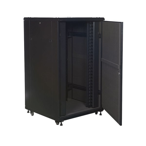 soundproof data cabinet 800mm wide with the door opened