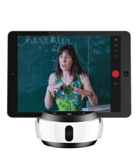 Swivl Robot with a teacher on the screen