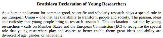 The Bratislava Declaration of Young Researchers