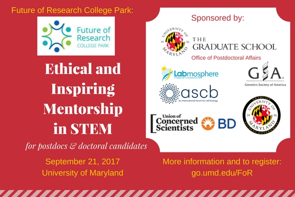 FoR College Park meeting on Mentoring in STEM: registration closes NOON EASTERN SEPTEMBER 15TH
