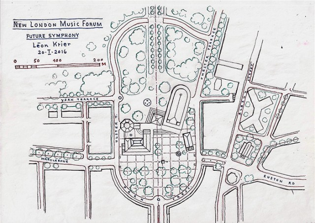London Music Forum, conceived and drawn by Léon Krier, copyright <small>2016</small>.