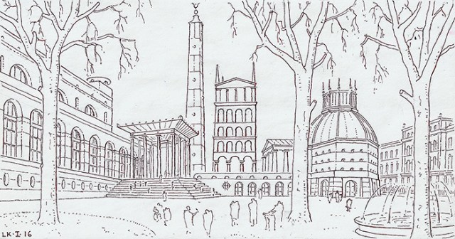 London Music Forum, conceived and drawn by Léon Krier, copyright 2016