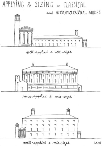 application and sizing of vernacular and classicism