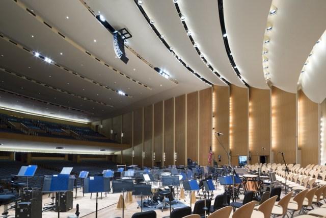 The stage of the steeply raked hall. <i>Image credit:</i> Bilyana Dimitrova.