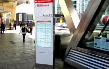 Bus information wayfinding totem.