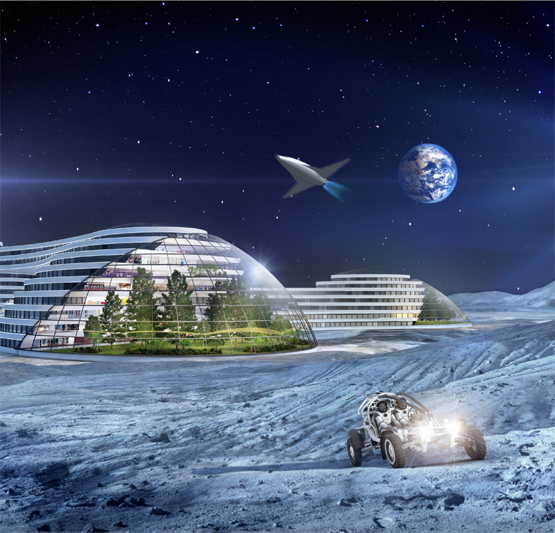future civilian moon colony 2100