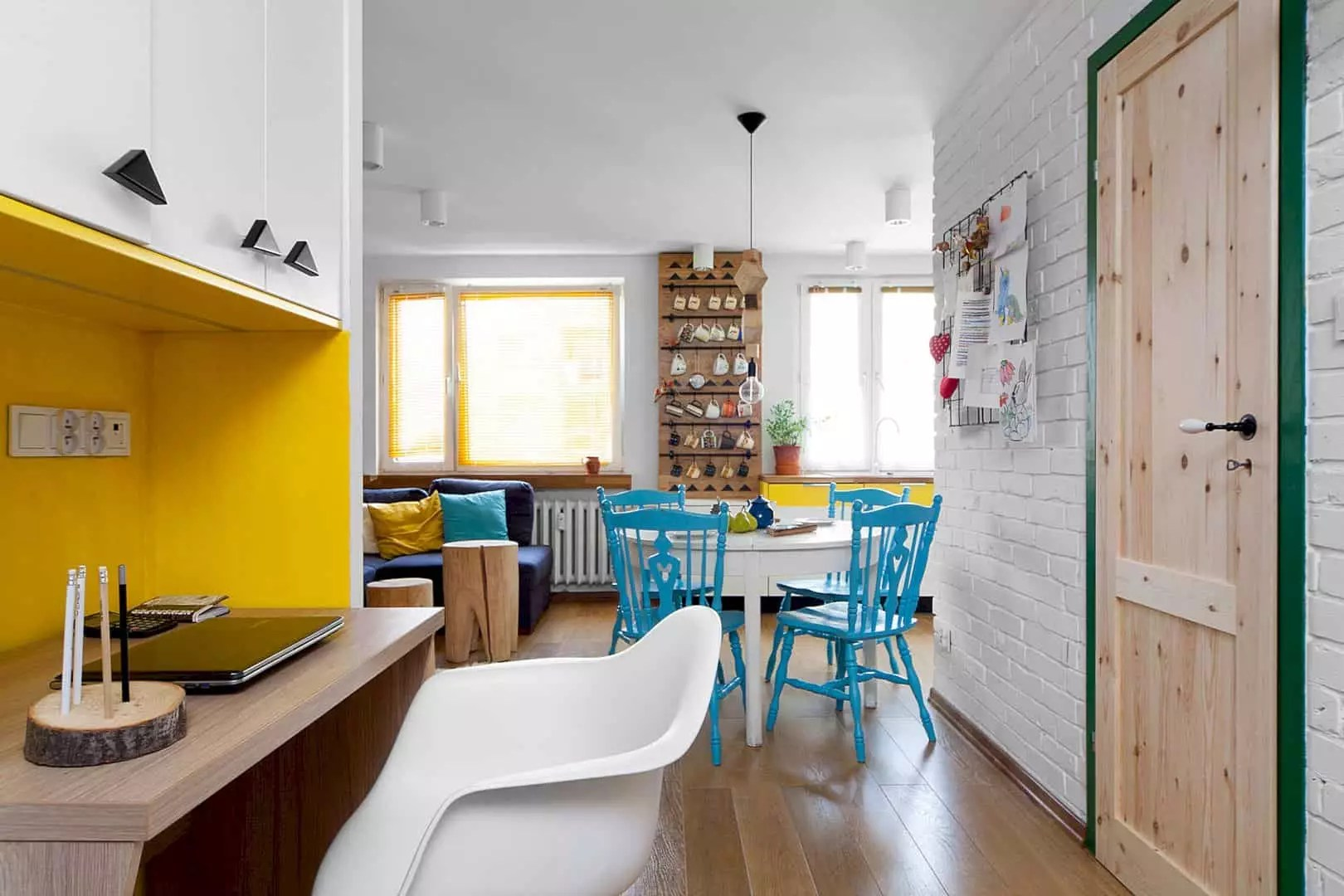 Mieszkanie Jaworzno: Minimalist Interior of A Beautiful House with Colorful and Rustic Design