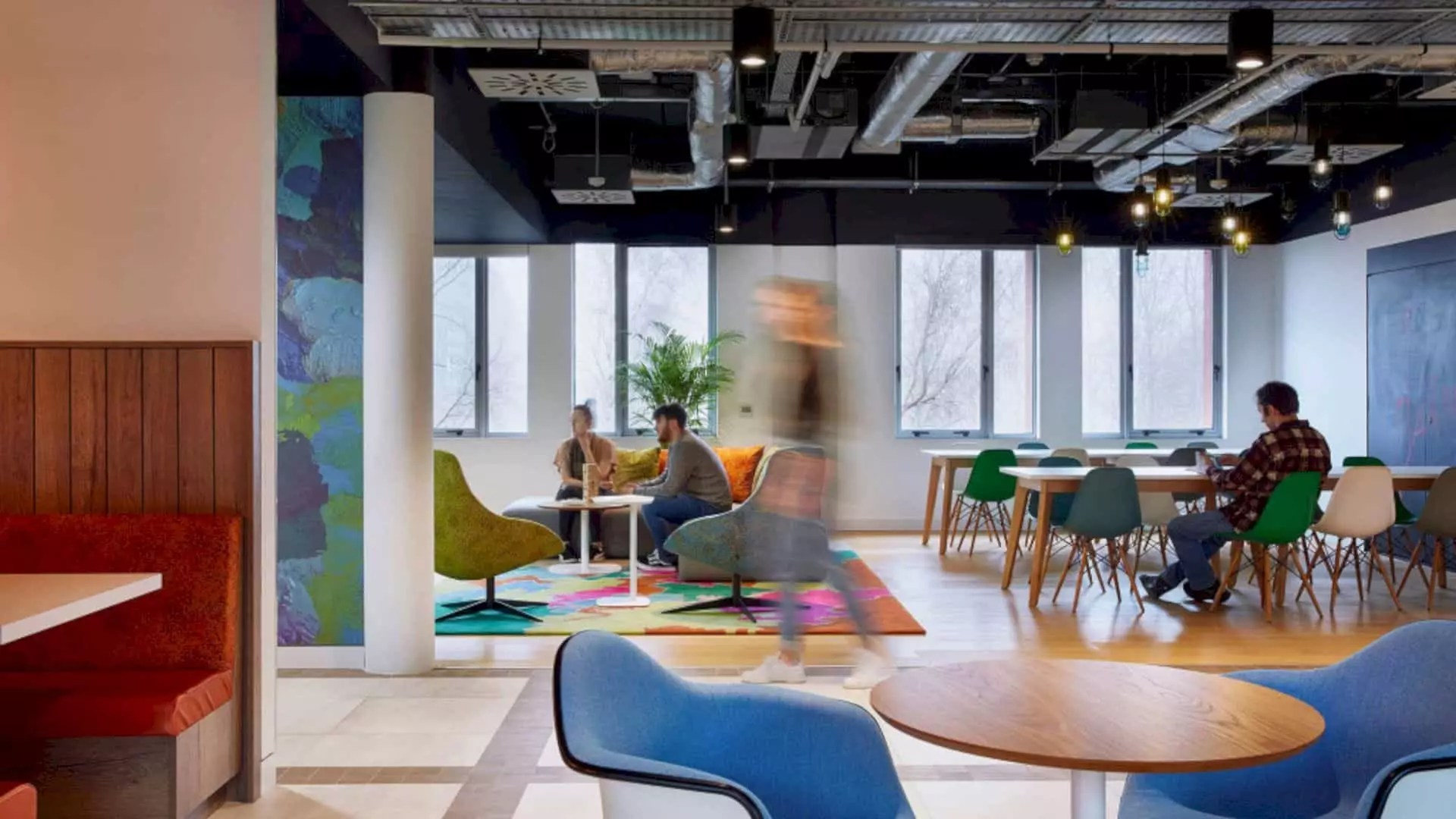 Adobe London: Industrial Interior of Three-Floors Building with Colorful Palette