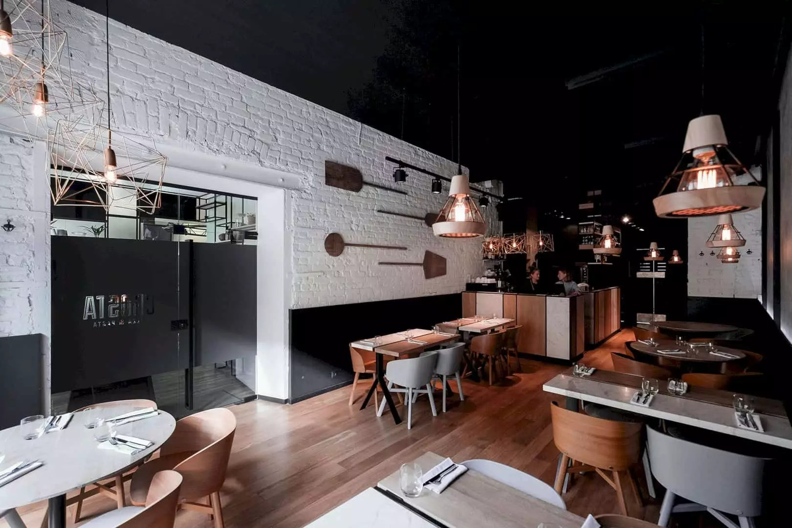 CROSTA Pizza & Pasta: Modern Minimalist Interior of Pizza Restaurant with Universal Colors