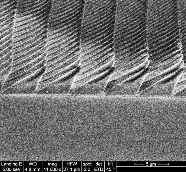 Immagine al microscopio elettronico a scansione delle piramidi asimmetriche che i ricercatori hanno nanostrato in 3D