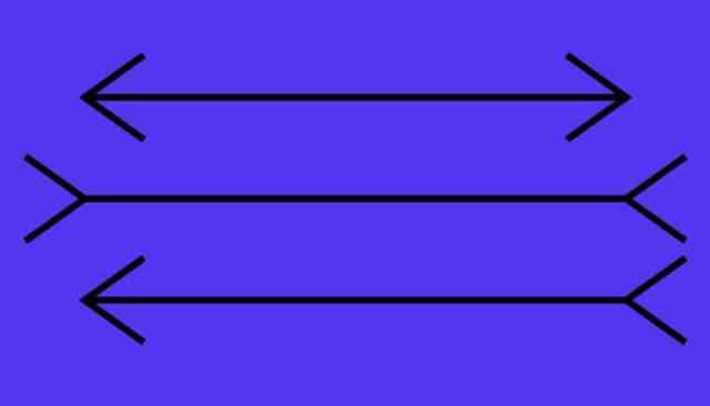 drie lijnen met naar binnen of naar buiten pijlvormige uiteinden. Ze lijken verschillende lengtes te hebben, maar zijn dat niet