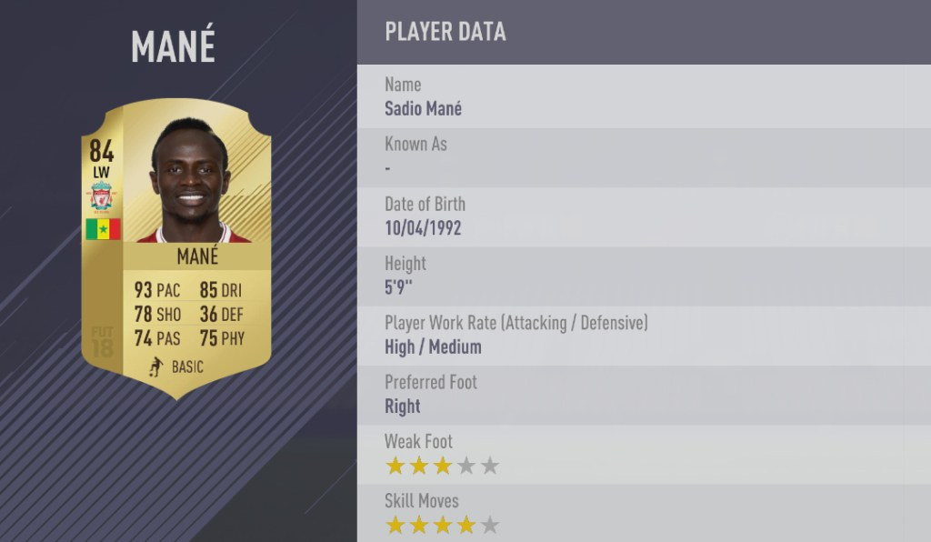 [FIFA18 RATINGS] TOP 100 à 81  Mane_updated