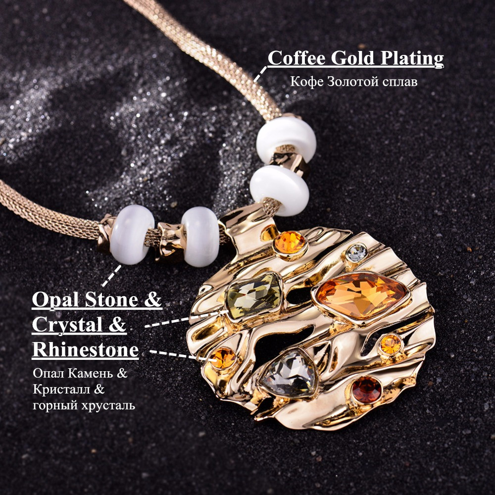 Coffee gold color round pendant for woman with large crystal sale aloadofball Gallery