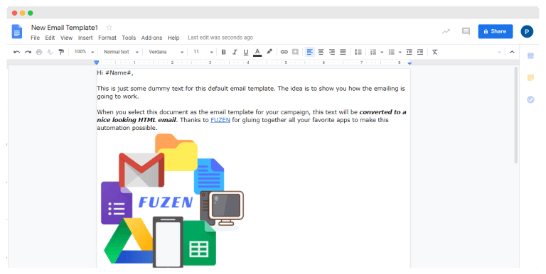 email template with personalization tags for mail merge