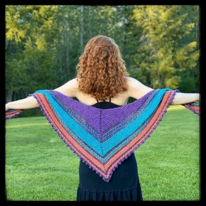 Displaying Finished Novum Alas shawl using Long Tall Sally kit
