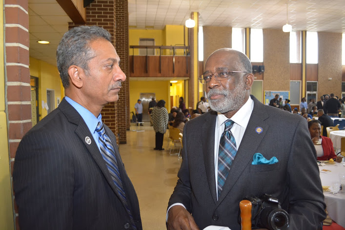 College of Arts and Scienes Dean Uppinder Mehan and Executive Director of Career and Alumni Services Edward Boston
