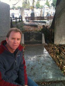 Dr. Andrew Corbett at the graveside of FWB