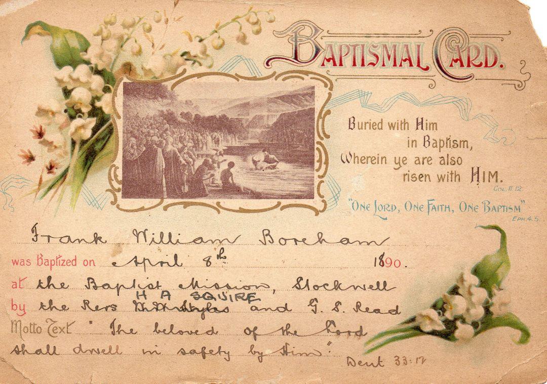 FWB's baptismal card