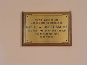 Mosgiel Baptist Memorial Plaque to Rev. F. W. Boreham