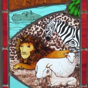 Creation 4b stained glass window