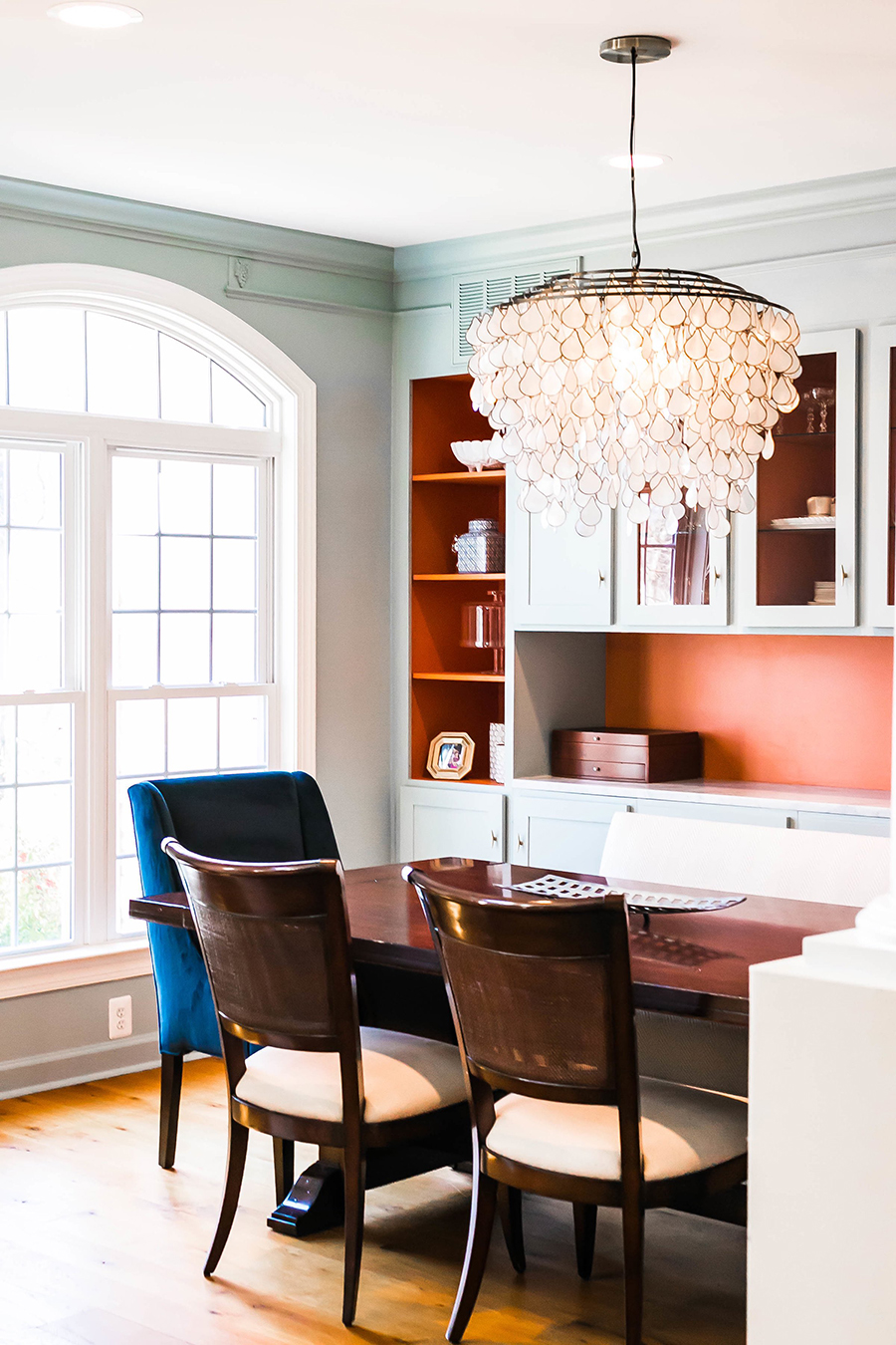 Aside From The Beautiful Cabinetry CB2 Capiz Chandelier Is Showstopper In Room It Gives A Light Airy And Playful Feel To More Formal Space