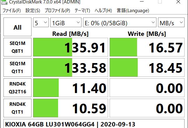 [ICT] KIOXIA 64GB USB Flash Drive ベンチマーク(ただし USB 3.1 PC 環境で計測 / USB 3.2 Gen1 の KIOXIA は USB 3.0 ですけどね )
