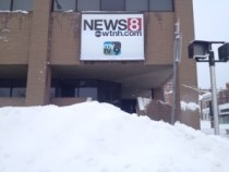 Snow outside WTNH, New Haven (twitter.com/danburyweather)
