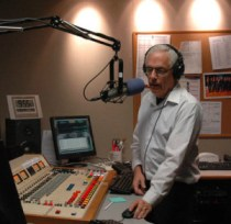 Mason on the air at XHPRS, 2012 (photo: Scott Fybush/NERW)