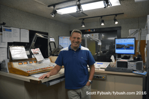 Drew Kelly in the WQKX studio