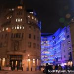 Broadcasting House after dark
