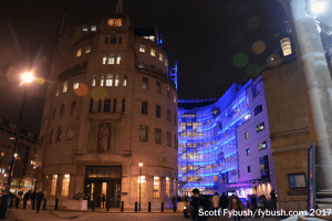 Broadcasting House after dark