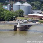 Zanesville's Y-Bridge, from above