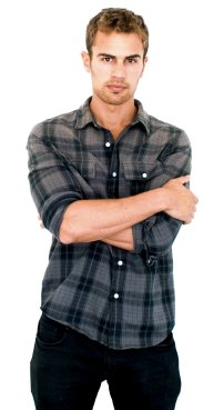 Theo wore this black and grey flannel for a Golden Boy photo shoot.