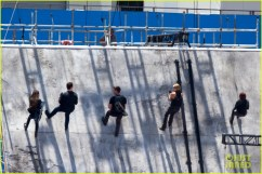 *EXCLUSIVE* Atlanta, GA - Miles Teller, Shailene Woodley, Maggie Q, Theo James, Ansel Elgort and Zoe Kravitz were spotted filming an action scene for 'Allegiant,' the final installment of the 'Divergent' trilogy, in which the key actors scale a wall. During one part, Ansel slips and dangles from the top of the wall. AKM-GSI June 22, 2015 To License These Photos, Please Contact : Steve Ginsburg (310) 505-8447 (323) 423-9397 steve@akmgsi.com sales@akmgsi.com or Maria Buda (917) 242-1505 mbuda@akmgsi.com ginsburgspalyinc@gmail.com