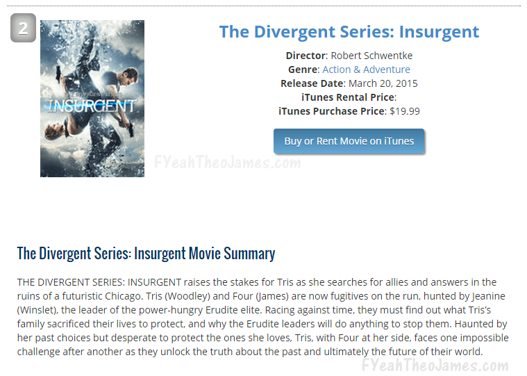 Where did Insurgent Rank on iTunes This Week? | F'Yeah ...