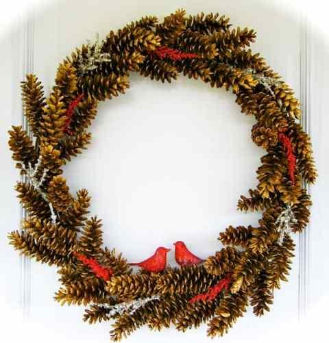 Handmade golden pinecone and cardinal wreath