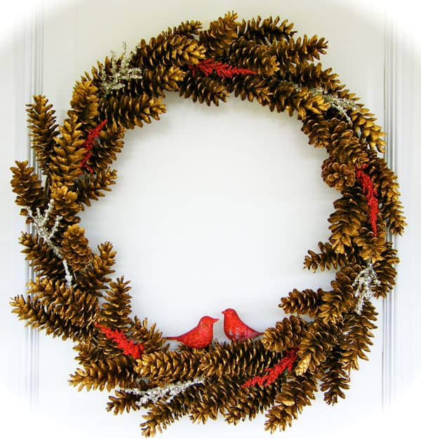 A Golden Pinecone Wreath The 12 Days of Door Decor- Day #1