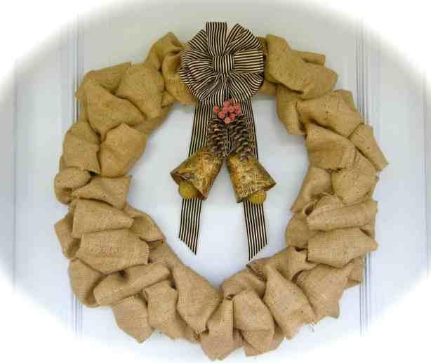 Burlap and Bells Wreath