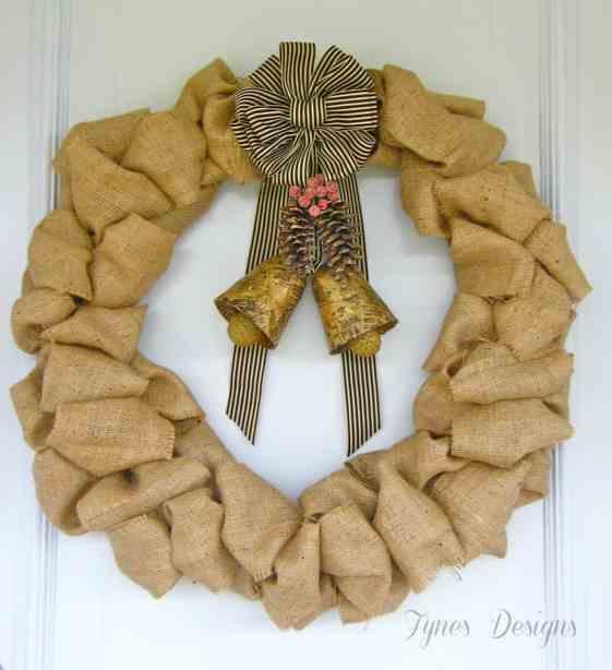 Burlap and DIY vintage bells wreath