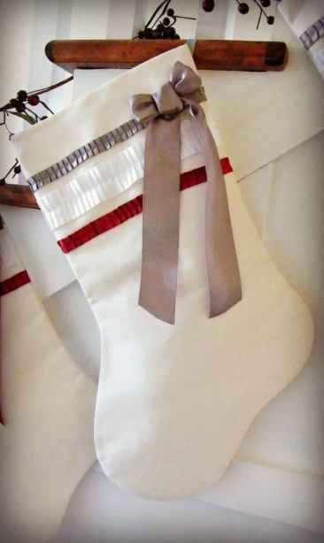 White canvas stockings with soft silk ribbon details